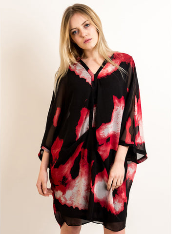 black and red watercolor print oversized Top