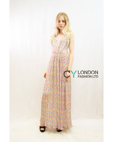 Chiffon Cross Wrap Maxi Dress Pink Floral