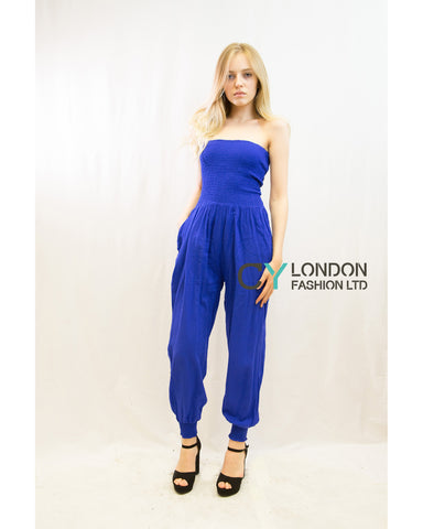 Cotton Bootube Jumpsuits (Roayl blue)