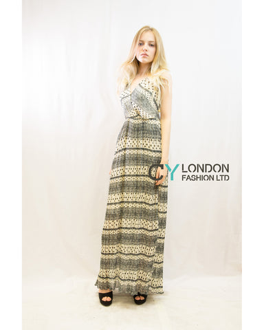 Chiffon Cross Wrap Maxi Dress Stripe