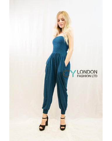 Cotton Bootube Jumpsuits (Turq)