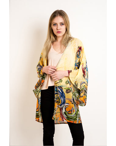 Floralprint oversize kimono sleeves kaftan cardigan (Yellow)