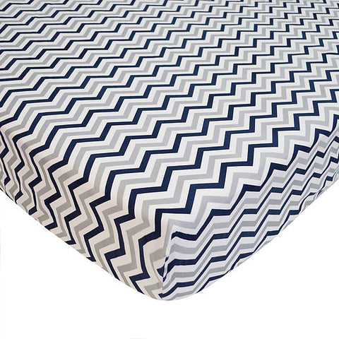ABC Crib Sheet-Navy/Grey Chevron