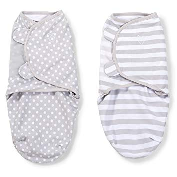 SwaddleMe® Original Swaddle 2-PK Grey Dot & Grey Stripe (SM)
