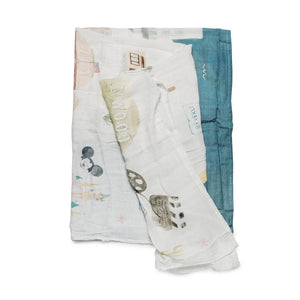 Loulou Lollipop City Muslin Swaddle Blanket