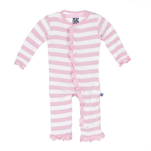 Kickee Pants Ruffle Coverall-Lotus Stripe