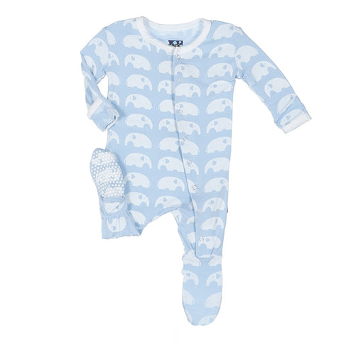 87d0d0a52980 Kickee Pants Footie-Pond Elephant – Juvenile Shop