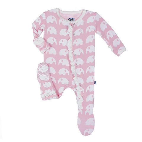 Kickee Pants Ruffle Footie-Lotus Elephant