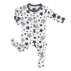 Kickee Pants Footie-Grey Stars