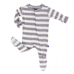 Kickee Pants Footie-Grey Stripe