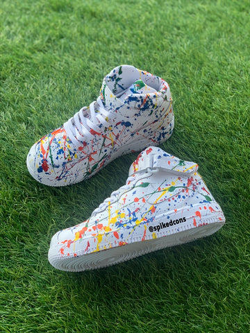 Splatter Air Force 1s (add size in notes when ordering)