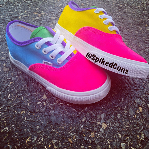 Custom Authentic Vans -Color Block Vans (purple, neon pink, green, blue, & yellow)