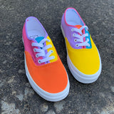 Custom Authentic Vans -Color Block Vans (purple, pink, orange, blue, & yellow)