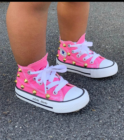 Pink Studded Converse -Toddler /Kids (High Top)