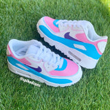 Air Max 90-White (Custom- Pink Purple & Blue)