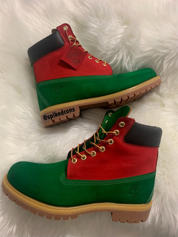 Green/Red Custom Timberlands (Gucci Colors Inspired) **Add exact size needed in notes**