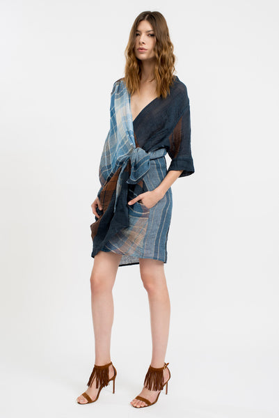 Wari Plaid Wrap Dress