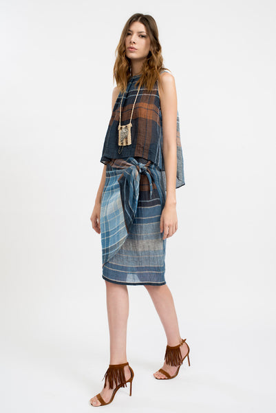 Wari Plaid Wrap Skirt
