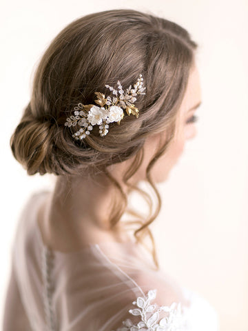 Flower Hair Comb | BLOSSOM & VINE LEAVES