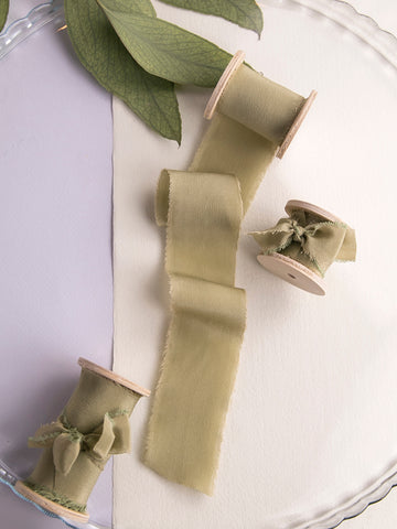Silk ribbon | MOSS GREEN