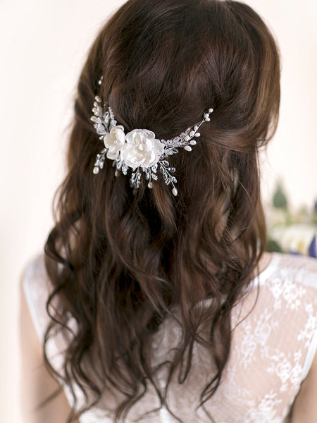 Flower Hair Comb | PEONY ROSE & CRYSTAL
