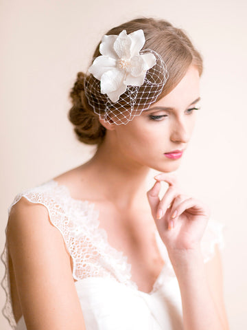 Birdcage Fascinator with Magnolia Flower