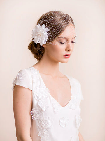 Birdcage Veil with Dahlia Flower