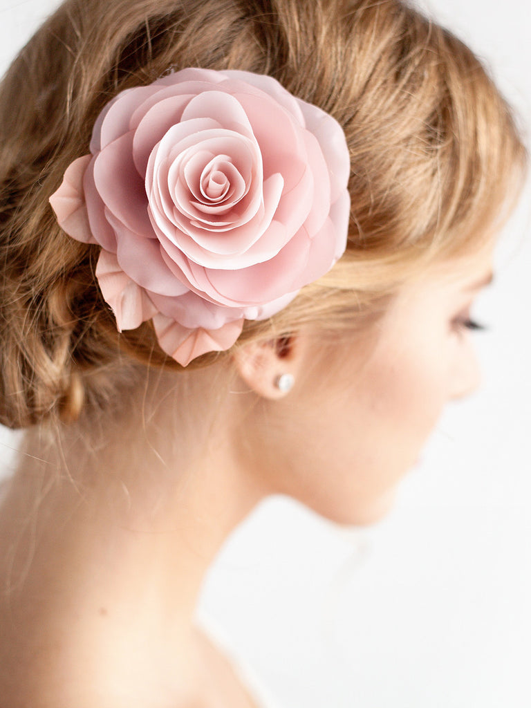 Blush Pink Flower Hair Clip