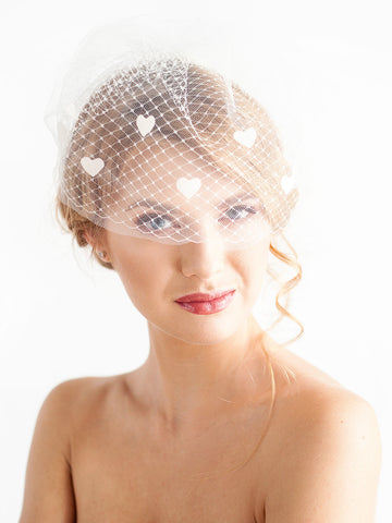 Double Blusher Veil with Hearts