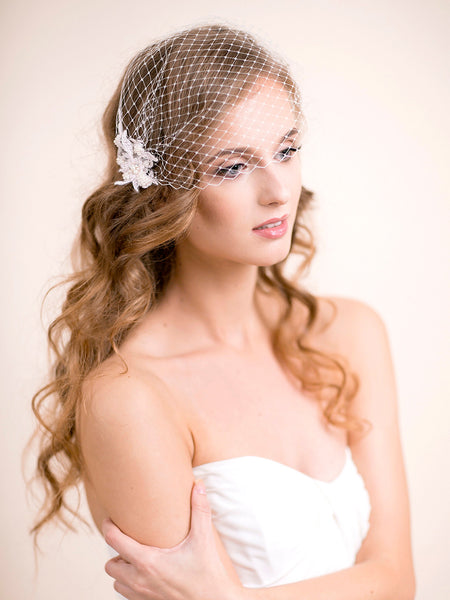 Bridal Birdcage Veil with Lace