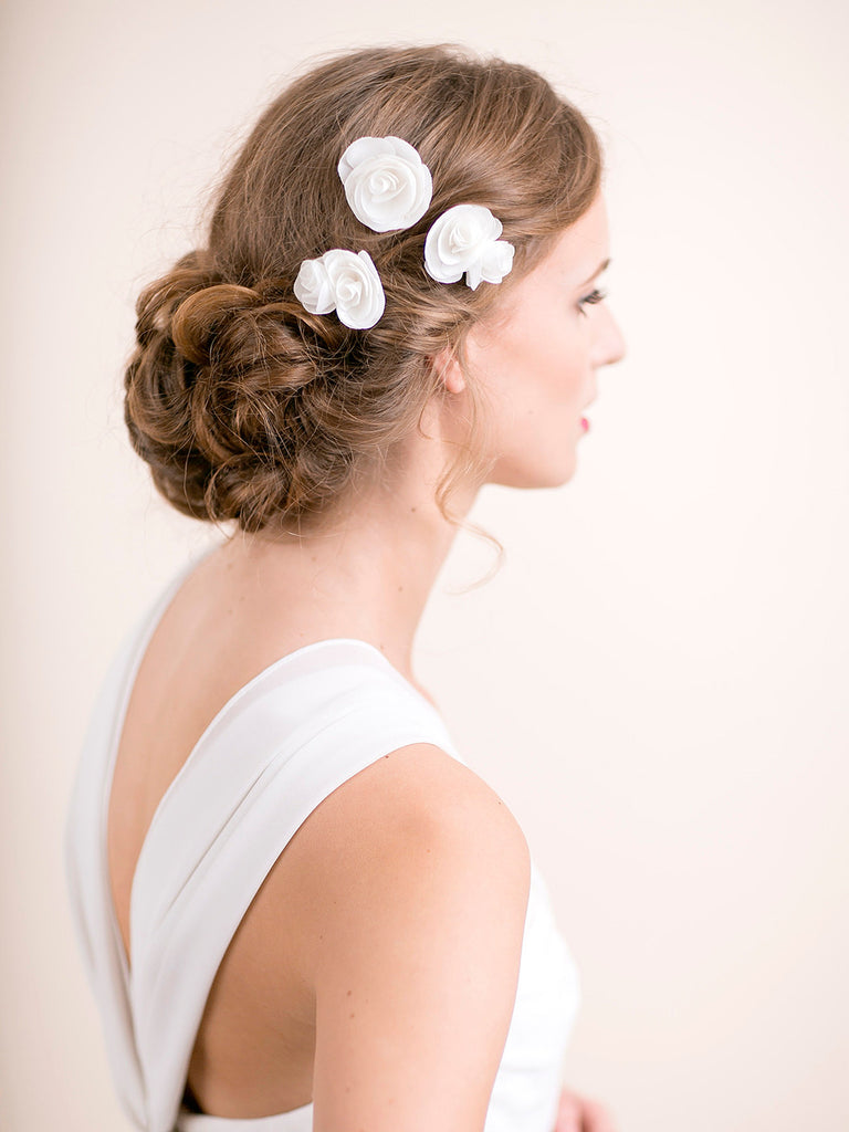 Bridal Rose Hair Pin in Chiffon