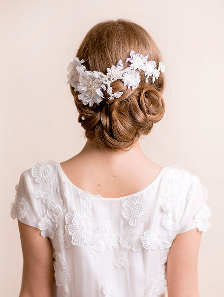 Bridal Flower Headpiece on Lace