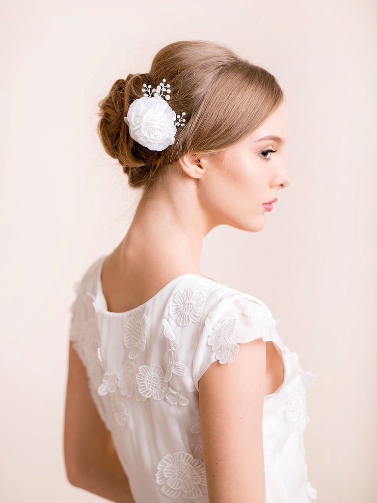 Bridal Floral Hair Comb with Pearls