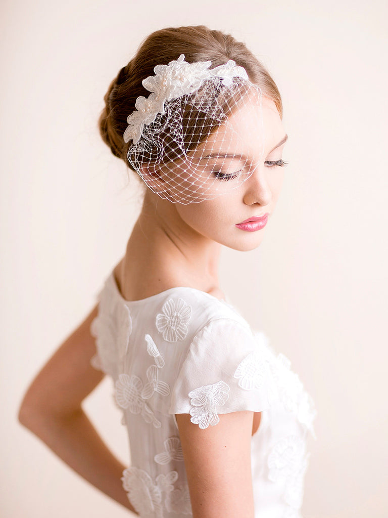 Lace Hair Piece with Small Birdcage Veil