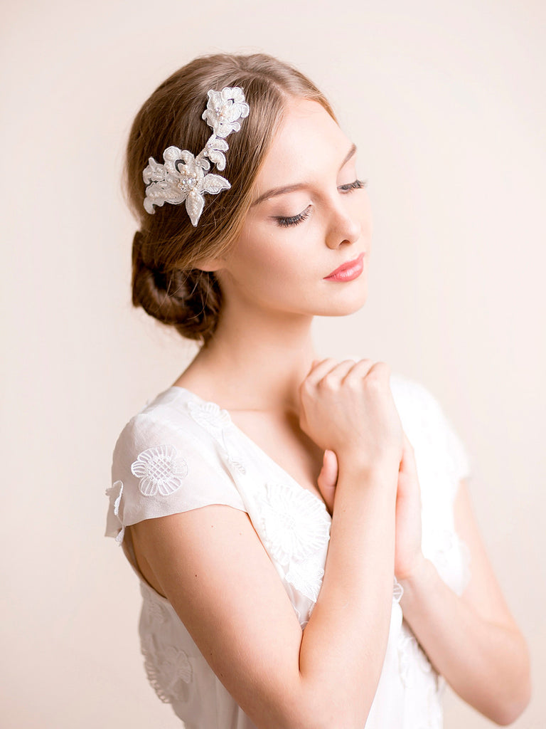 Bridal Lace Headpiece with Rhinestone