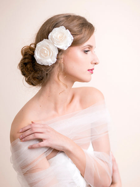 Bridal Rose Hair Clip Set