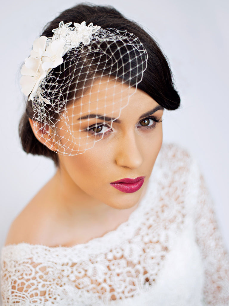 Small Birdcage Veil with Cherry Blossom Florentes