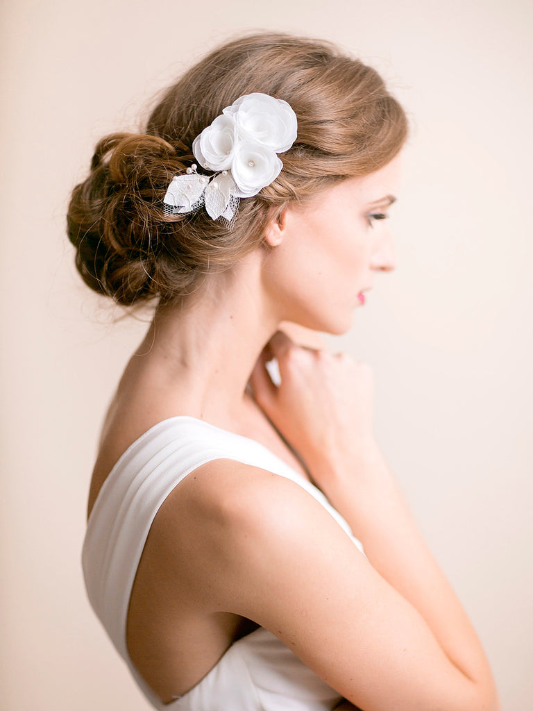 Wedding Hair Piece of Organza Flowers