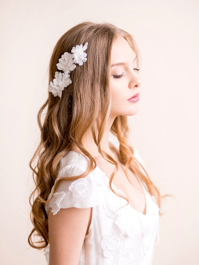 Wedding Lace Headpiece with Silk Flowers