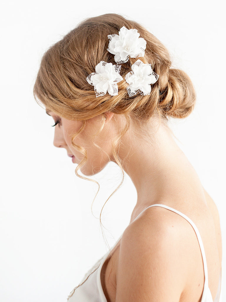 Wedding Hair Piece of Silk and Lace