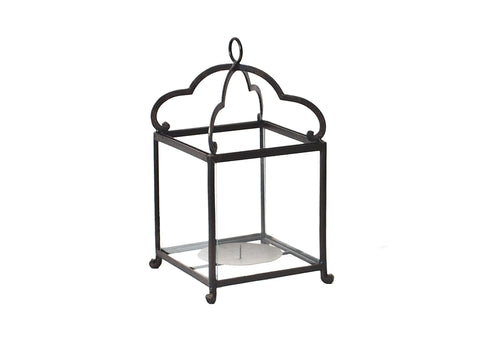 Hanging Square Black Iron Scalloped Lantern