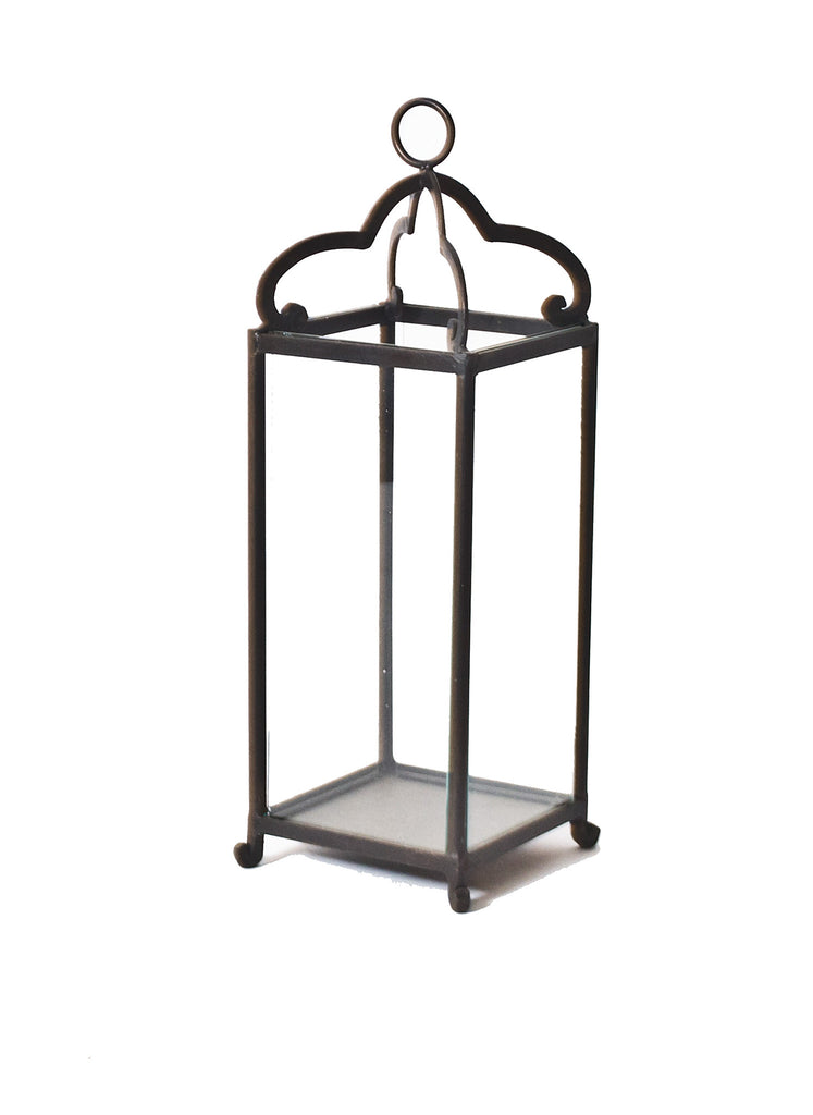 Hanging Tall Black Iron Scalloped Lantern