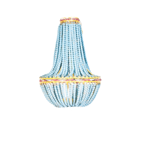 Turquoise Wood Beaded Chandelier