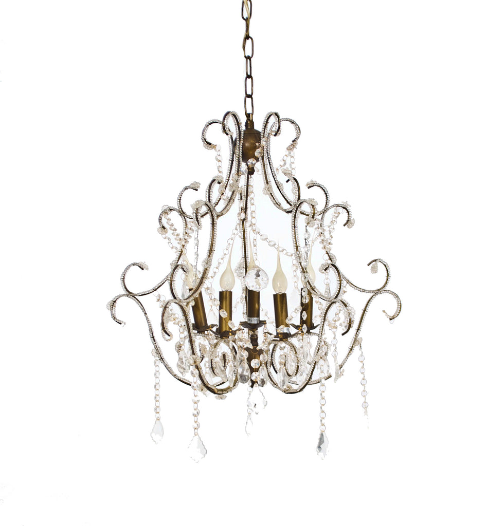 Dainty Bronze and Crystal Chandelier