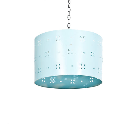 Blue Punched Tin Drumshade