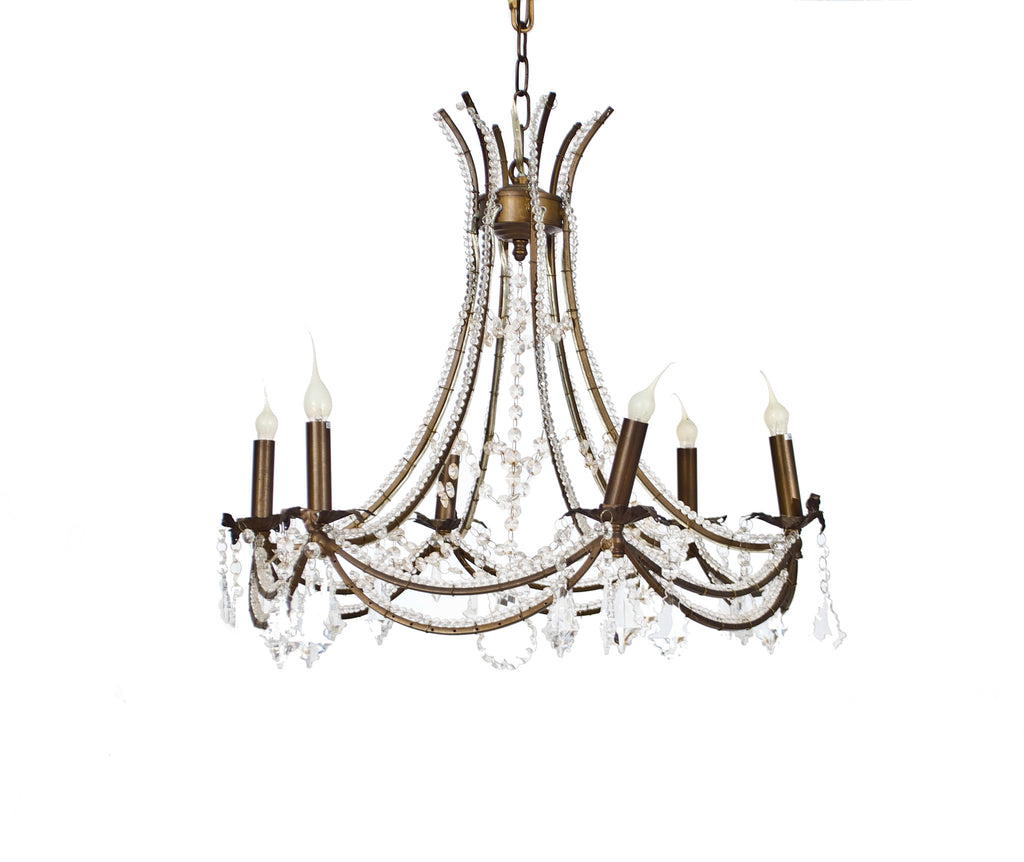 Bronze and Crystal Draping Chandelier
