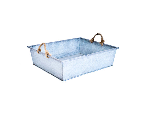 Galvanized Tray with Rope Handles