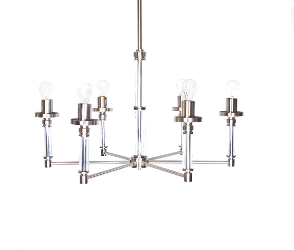 Industrial Nickel and Glass Chandelier