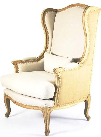 Burlap and Linen Wingback Chair
