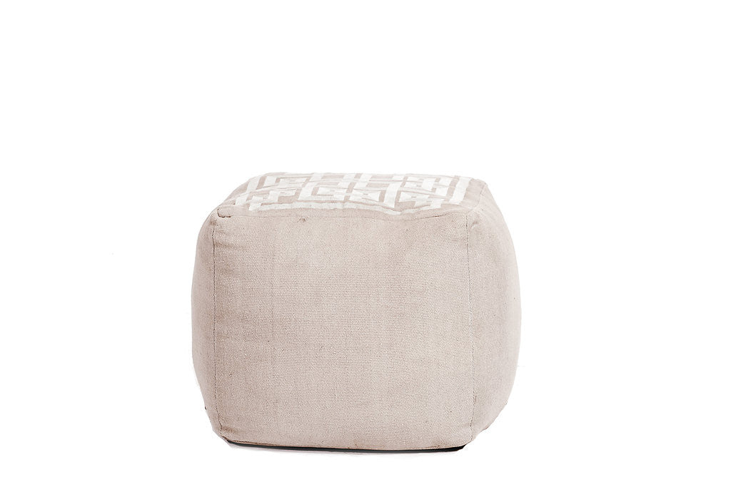 Linen Greek Key Pouf